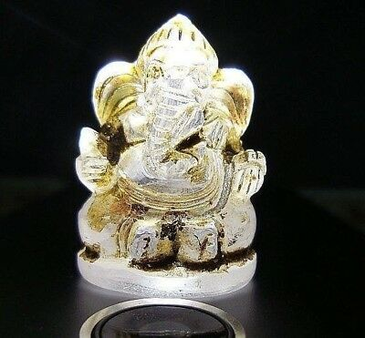 Antique Cave Crystal NAGA EYE Stone carved Neat detail! Lord ganesh Holds Weapon