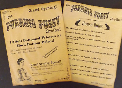 Purring Pussy Brothel Handbill & Rules Posters old west bordello cat house