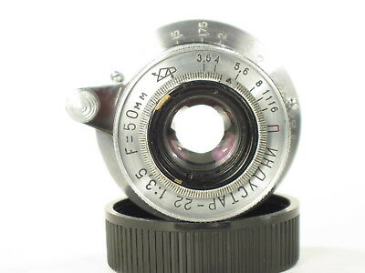 Industar-22 f/3.5 50mm M39 RF lens for Zorki/Leica cameras collapsible S/N 12963