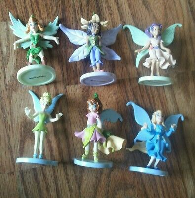 """6 Disney Fairies PVC Cake Toppers 3.5"""" Tall With Tinkerbell"""