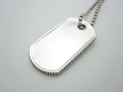 4f0b4cc0f Tiffany & Co Sterling Silver Coin Edge Dog Tag Pendant Necklace Beaded 34
