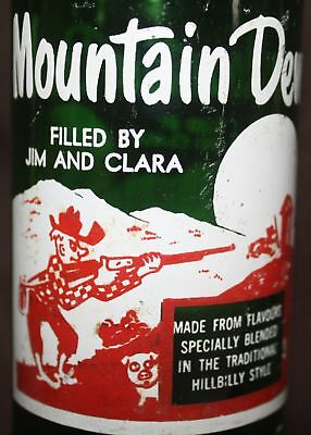 RARE - VINTAGE - MOUNTAIN DEW  10 0z. Bottle - Filled By: JIM & CLARA - CANADA