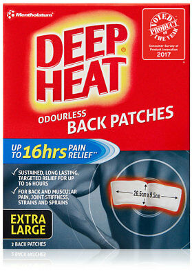 Deep Heat Back Patches | 16 hours Pain Relief! Odorless effective muscles 8pc XL