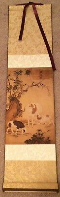 SILK Scroll ASIAN ART Nature- Landscape Animals- Red Stamps Characters