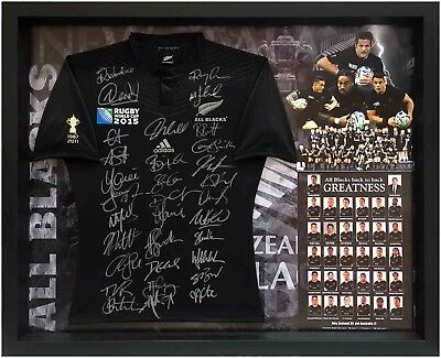 New Zealand All Blacks Squad Signed 2015 Rugby World Cup Jersey Jumper With Coa