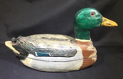 Vintage Hand Carved And Painted Wooden Duck Decoy - Signed Leo Johnson