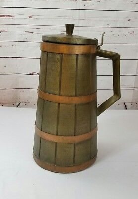 Large Hammered Brass / Copper COAL BIN Container Scuttle ITALY Antique