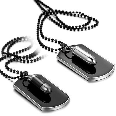 Men's Stainless Steel Black Bullet Dog Tag Pendant Necklace W/ Bead Chain Alloy