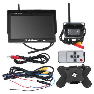 Wireless Backup Camera System+7'' TFT LCD Car Rear View Monitor for Bus RV Truck
