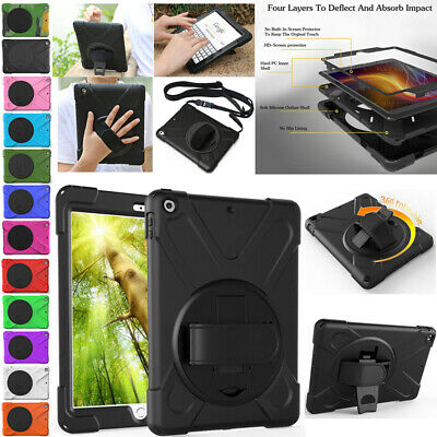 """For iPad 9.7"""" 2017 2018 Pro 12.9 Shockproof Heavy Duty Rotating Stand Case Cover"""
