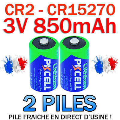 LOT DE 2 PILES ACCU BATTERIE CR2 LITHIUM (CR15270) 3V 850mAh PKCELL CR2 CR-2
