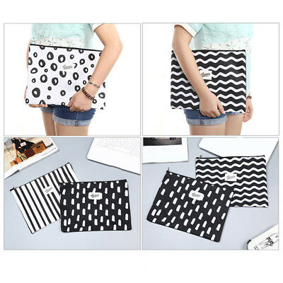 A4 Paper File Folder Document Filing Bag Stationery Bag School Office Canvas Zip