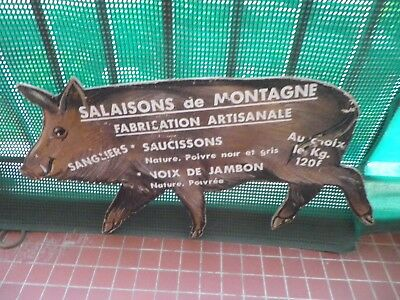 CHARCUTERIE ARDECHE ENSEIGNE 1960's / COLD CUTS FRENCH VINTAGE WALL SIGN WOOD