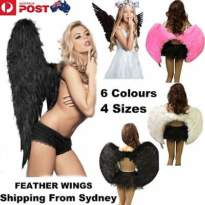Feather Angel Wings Costume Adult Kid Halloween Fancy Dress Valentine Day Party