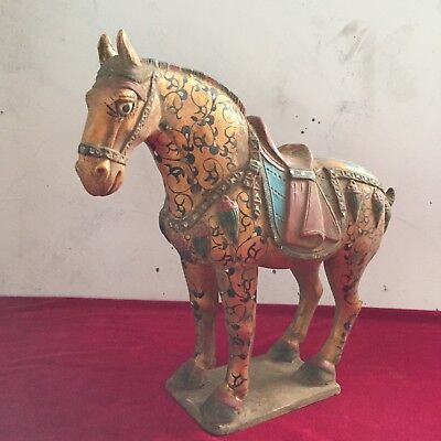 Chinese ancient tang dynasty three color hand-painted war horse.