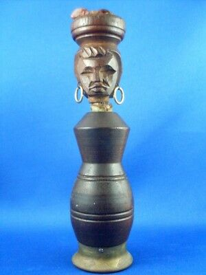 Vintage 1960's CARVED WOOD NATIVE BRAZILIAN WOMAN Corkscrew & Opener Collectable