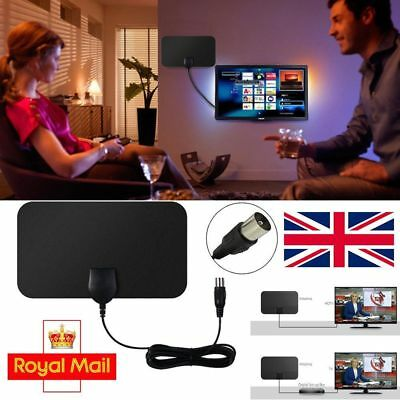Digital HDTV Indoor Freeview Antenna with TV Aerial Amplifier 50 Mile Range-Thin