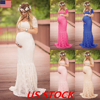 USA Womens Lace Maternity Dress Maxi Fancy Long Gown Pregnancy Photography Props