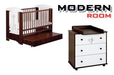 BABY NURSERY FURNITURE SET COT with DRAWER + CHEST DRAWERS CHANGING TABLE walnut