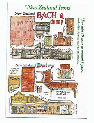 New Zealand Bach & Dunny & Dairy Cut Out & Make Postcard 394E