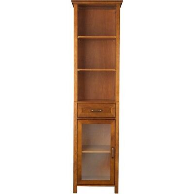 Wooden Bookcase Cabinet Tall Display Glass Door Storage Drawer Open