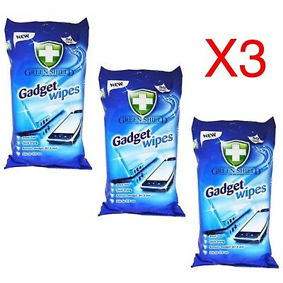 3 x 50 Gadget Screen Cleaning Wet Wipes Laptop LED LCD TV Computer iPad Monitor