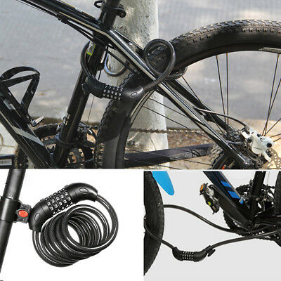 Bike Lock Security 5 Digit Resettable Combination Coiling Cable Bicycle Car Lock