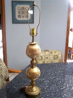 Vintage Mid Century Table Lamp Cracked Glass Brass Gold Tone Ornate 33""