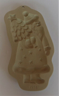 1996 Brown Bag Cookie Art - Stoneware Xmas Craft Mold/Cutter KRIS KRINGLE Santa