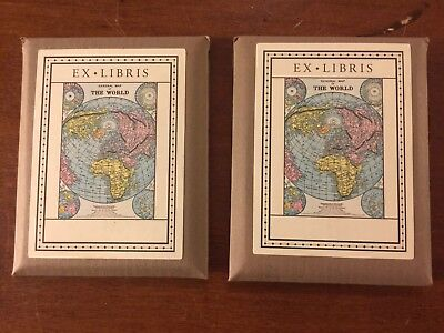 Lot Of Two (2) Packs Ex Libris General Map Of The World Bookplates (18/Pk)