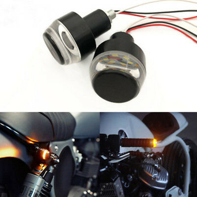 2pc 12V Motorcycle Handle Turn Signal LED Light Indicator Blinker Handlebar M8