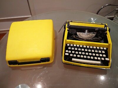 Vintage Remington Riviera Yellow Typewriter by Sperry Rand 1970's w/Hardcover