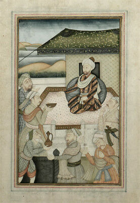 18th Century Indian Mughal Miniature Painting of Emperor Humayun Court