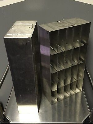 "Lot of 2 Stainless Steel Cryogenic Freezer Racks 22""x11""x5.5"" Used"