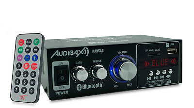 Audibax KANSAS Amplificador HiFi con Bluetooth / MP3 / FM. Entrada SD y USB. 2 x
