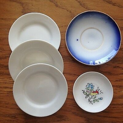 Mixed Lot of Vintage Porcelain Children's Toy Dishes * Total of 5 Plates