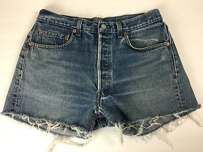 """Vtg 1980s 80s Levis 501 Button Fly Jean Shorts Cut Off Faded 32"""" USA Mens cutoff"""