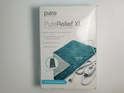 Pure Relief XL King Size Heating Pad Fast Heating Technology 6 Temp