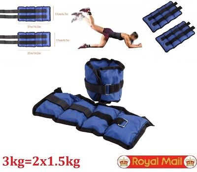 Twin Set of Wrist Ankle Leg Weights 3kg Fitness Gym Running Training Exercise