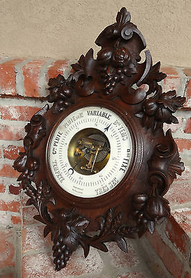 HUGE Antique French Carved Oak BLACK FOREST BAROMETER w Grapes Wine Wall Hanging