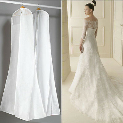 White Wedding Dress Bridal Gown Garment Dustproof Cover Storage Bag
