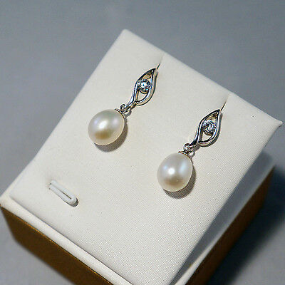 Genuine Quality High Luster Freshwater Pearl Drop 925 Silver Earrings Studs