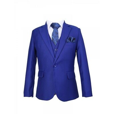 Boys Royal Blue Formal Smart Wedding Party Communion Prom 5 Piece Formal Suits