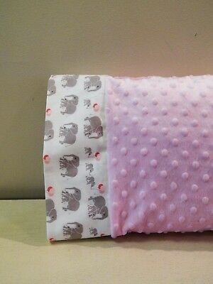NWT Elephant Party Balloon Pink Minky Dot Toddler Pillowcase 12x16 Girl Jungle