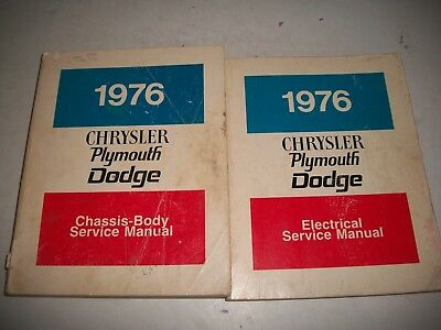 1976 Dodge Chrysler Plymouth Service Shop Manual Set Chassis/body+Electrical