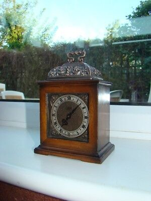 "minature bracket clock 5""1/2"" to top handle smiths 8 day very small and runs"