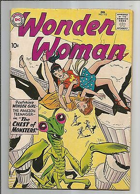 Wonder Woman 112 Vg- Very Good- Ow/white Pages Dc Silver Age Comic 1960