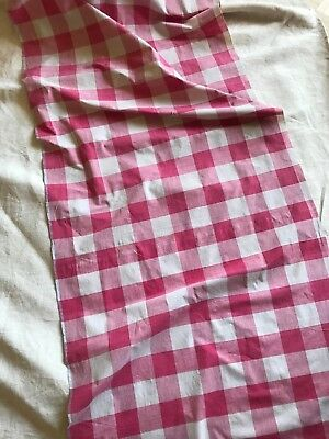 ANTIQUE FRENCH RED CHECK VICHY PANEL - VICHY FABRIC - FADED & TIMEWORN - c1800