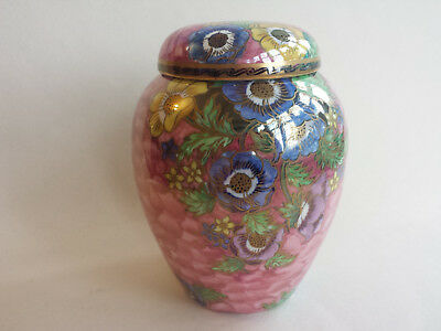 Lovely unusual pink mottled Art Deco Maling lustre ginger jar with Anemonies