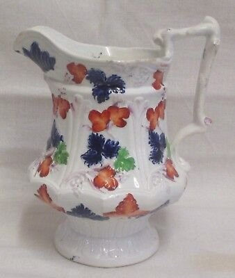 "7.5"" Victorian Gaudy Welsh Embossed Grapes Jug"